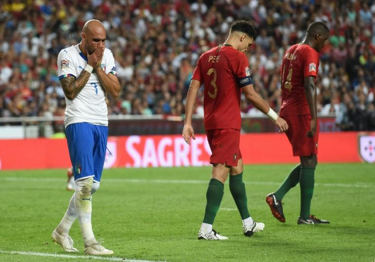 Simone Zaza missed a chance to snatch a point for Italy in Lisbon
