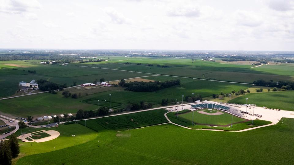 The Major League Baseball stadium built next to the Field of Dreams movie site on Tuesday, July 13, 2021 in Dyersville.