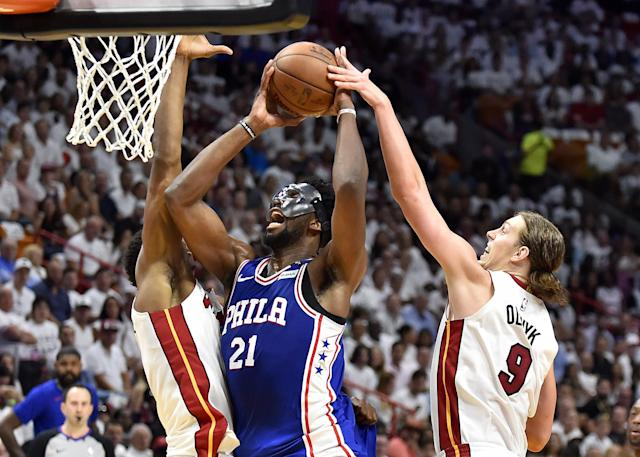"The Heat couldn't stop the returning <a class=""link rapid-noclick-resp"" href=""/nba/players/5294/"" data-ylk=""slk:Joel Embiid"">Joel Embiid</a> and the 76ers in the fourth quarter of Game 3. (Getty)"