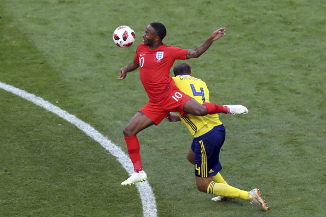 <p>England's Raheem Sterling leaps over Sweden's Andreas Granqvist </p>