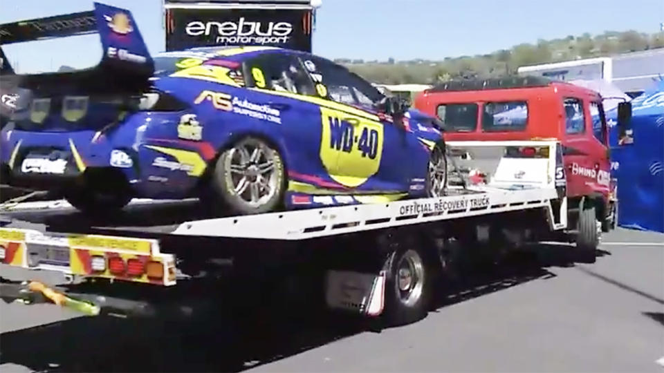 Will Brown's car, pictured here being towed back to the garage.