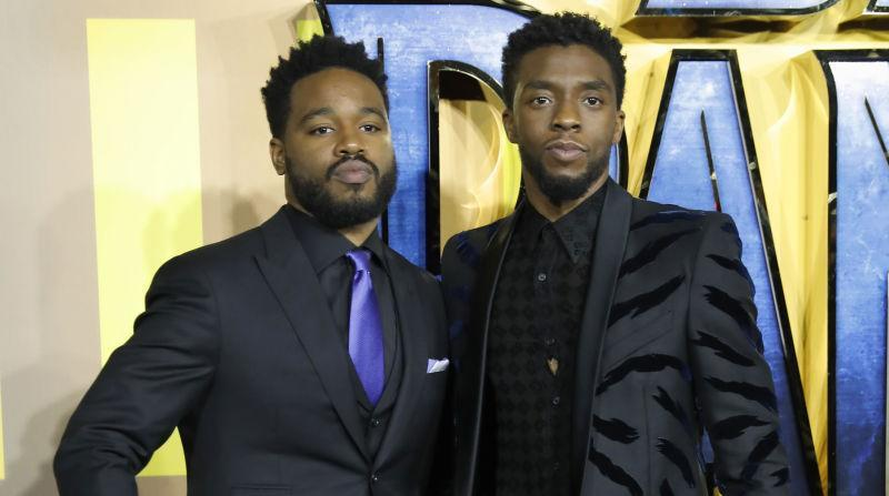 Ryan Coogler and Chadwick Boseman pose on arrival for the European Premiere of 'Black Panther' on February 8, 2018.