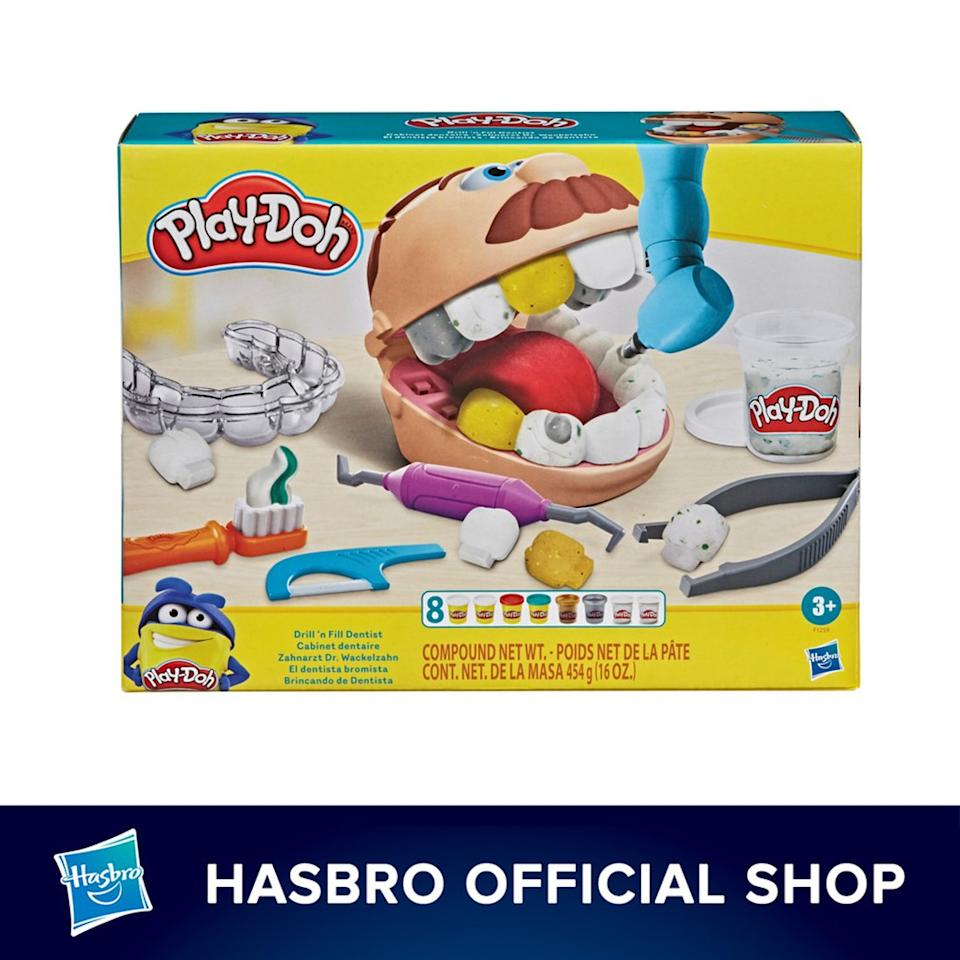 Play-Doh Drill 'n Fill Dentist Toy with 8 Modelling Pots, Non-Toxic. PHOTO: Shopee