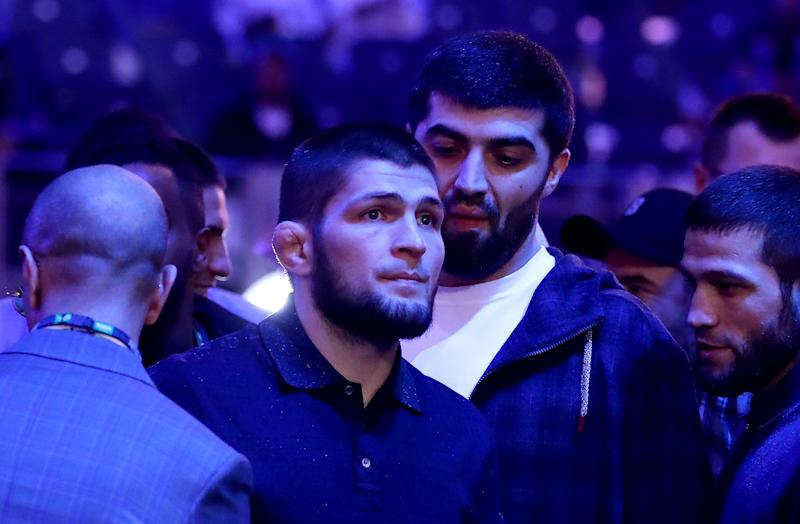 UFC fighter Khabib Nurmagomedov is seen ringside during the of the WBC World Heavyweight Eliminator fight between Alexander Povetkin and Michael Hunter during the Matchroom Boxing 'Clash on the Dunes' show at the Diriyah Season on December 07, 2019 in Diriyah, Saudi Arabia (Photo by Richard Heathcote/Getty Images)