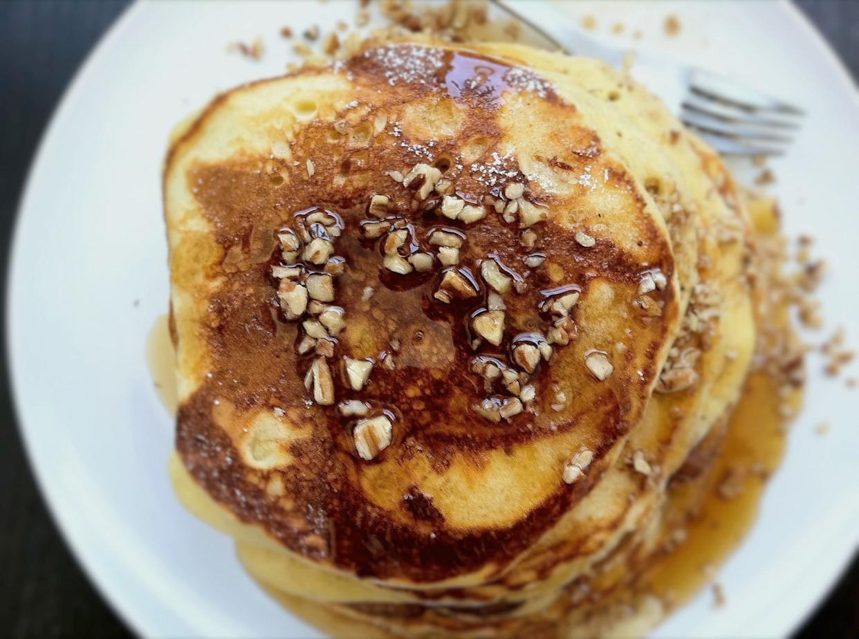 "<strong>Get the <a href=""http://food52.com/recipes/16691-bourbon-maple-syrup-on-egg-nog-pancakes"" rel=""nofollow noopener"" target=""_blank"" data-ylk=""slk:Bourbon-Maple Syrup on Egg Nog Pancakes recipe"" class=""link rapid-noclick-resp"">Bourbon-Maple Syrup on Egg Nog Pancakes recipe</a> from Jerry James Stone via Food52</strong>"