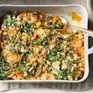 "<p>This colorful gratin dish livens up any plate. Creamy melted Gruyère is comforting, while a blend of cumin, nutmeg, and cayenne pepper lends a warm, spicy note. <a href=""http://www.eatingwell.com/recipe/276917/kale-butternut-squash-gratin/"" rel=""nofollow noopener"" target=""_blank"" data-ylk=""slk:View recipe"" class=""link rapid-noclick-resp""> View recipe </a></p>"