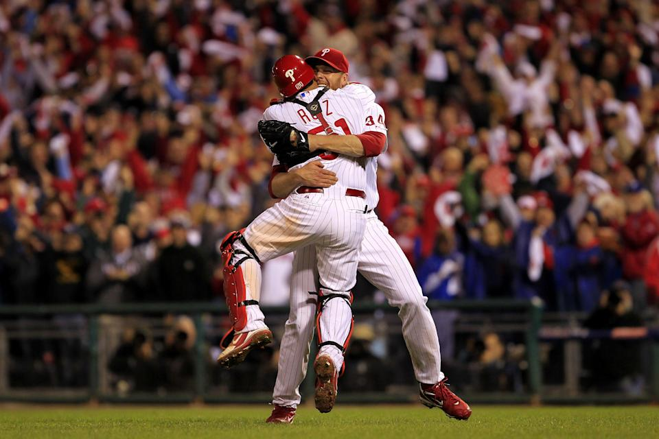 Roy Halladay celebrates after throwing a no-hitter in the 2010 NLDS against the Reds. (Getty Images)