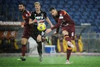 Roma forward Edin Dzeko (R) scored the only goal against Sampdoria