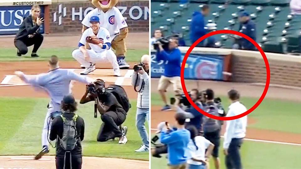 Conor McGregor (pictured left) throwing a pitch at the Chicago Cubs game and (pictured right) the ball going out.