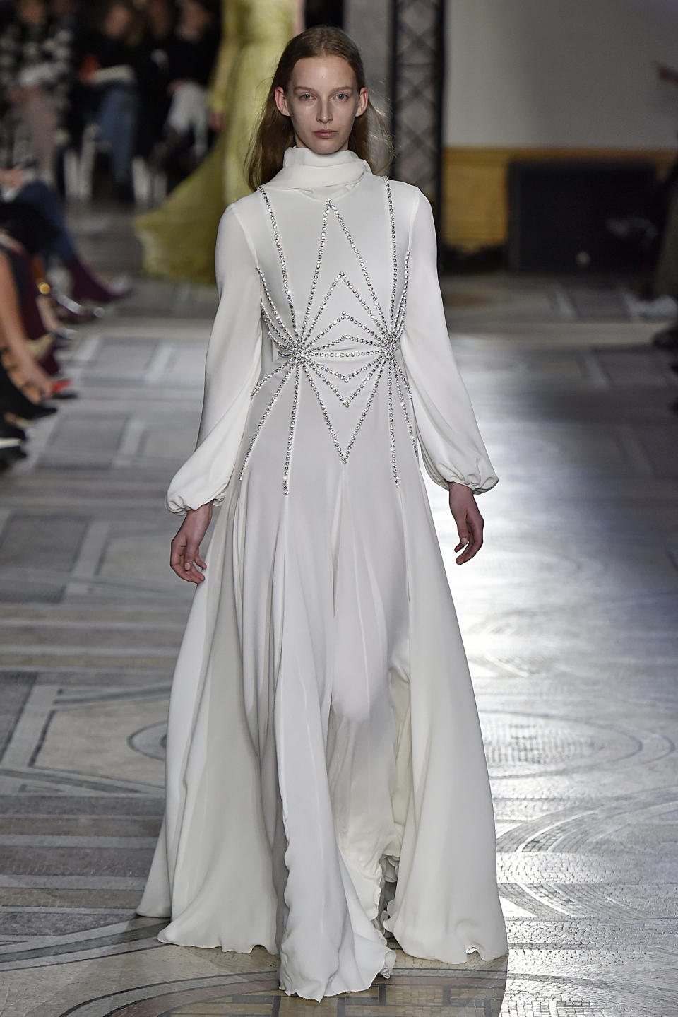 <p>This crystal-adorned Giambattista Valli is among the flashiest from the couturier's 2018 show, exuding equal parts old Hollywood glamour and bridal boldness. (Photo: Getty Images) </p>