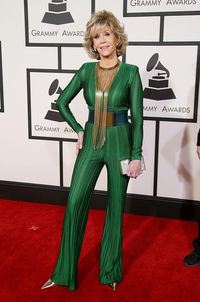 <p><strong>When: Feb. 8, 2015</strong><br>Fonda looked half her age in this green Balmain jumpsuit at the 2015 Grammys. <em>(Photo: Getty)</em> </p>