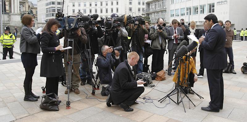 Alias Yousaf, solicitor for Adil Khan, speaks to the media outside Liverpool Crown Court, where nine Asian men were jailed for their part in a child sex ring which exploited vulnerable teenage girls.