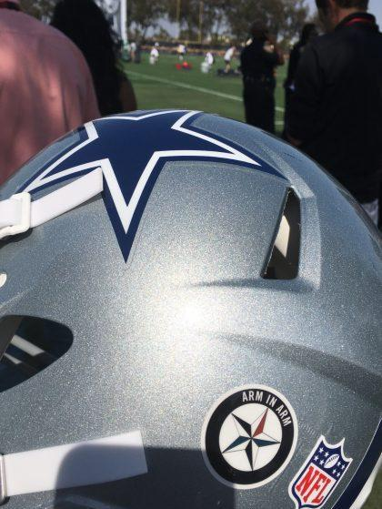 The Dallas Cowboys planned to honor slain police officers with this decal, but the NFL denied it (AP).