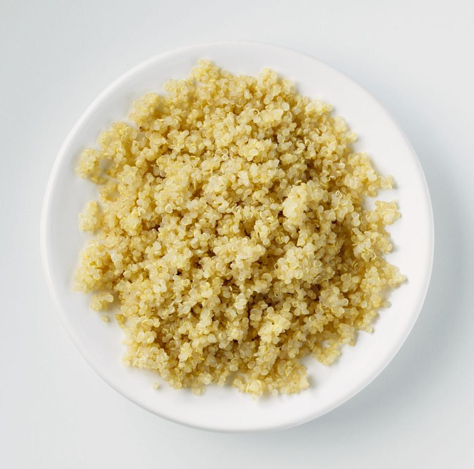 "<p>Vegetarians and vegan love <a href=""https://www.bicycling.com/health-nutrition/a23705201/quinoa-health-benefits/"" target=""_blank"">quinoa</a> because it is a complete protein, meaning it contains all nine essential amino acids. Another bonus: one cup of quinoa contains about five grams of fiber (for comparison, brown rice has about 3.5 grams of fiber), so it will keep you full and energized for even longer. </p>"