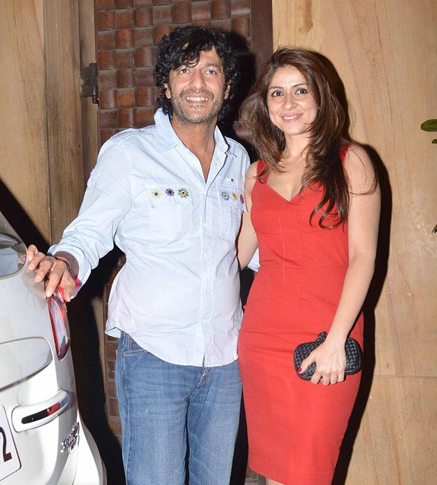 Chunky Pandey with his wife at the bash