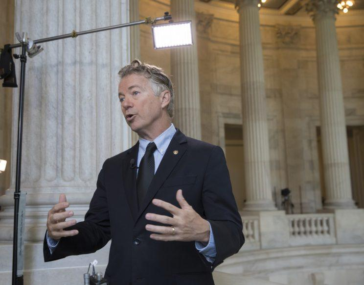 Sen. Rand Paul, R-Ky., a member of the Senate Foreign Relations Committee, reacts to the firing of FBI Director James Comey by President Donald Trump during a television interview on Capitol Hill in Washington, early Wednesday, May 10, 2017. (Photo: J. Scott Applewhite/AP)