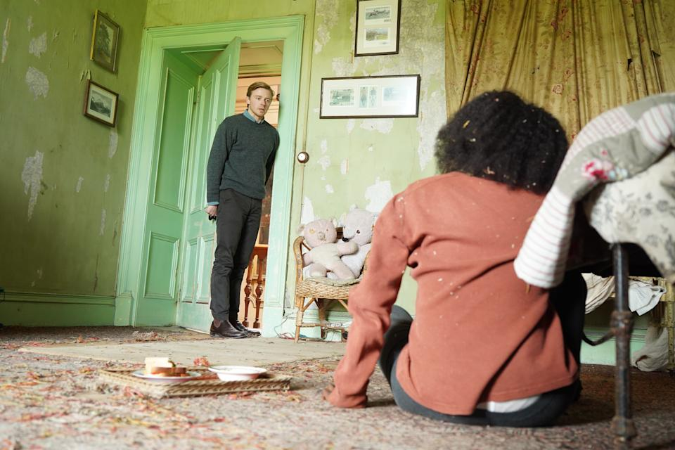 Tamara Lawrence as Charlotte and Jack Lowden as Thomas in Kindred (Sky Cinema)
