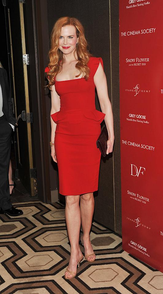 """Minus her underwhelming Jimmy Choos and mismatched clutch, Nicole Kidman was on fire at a recent """"Snow Flower and the Secret Fan"""" screening thanks to her sizzling Elie Saab stunner and flaming head of red. Stephen Lovekin/<a href=""""http://www.gettyimages.com/"""" target=""""new"""">GettyImages.com</a> - July 13, 2011"""