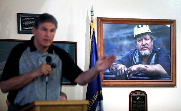 Sen. Joe Manchin, D-W.Va., holds a town hall meeting with coal miners on March 31, 2017, in Matewan, W.Va. Manchin grew up in a mining community.