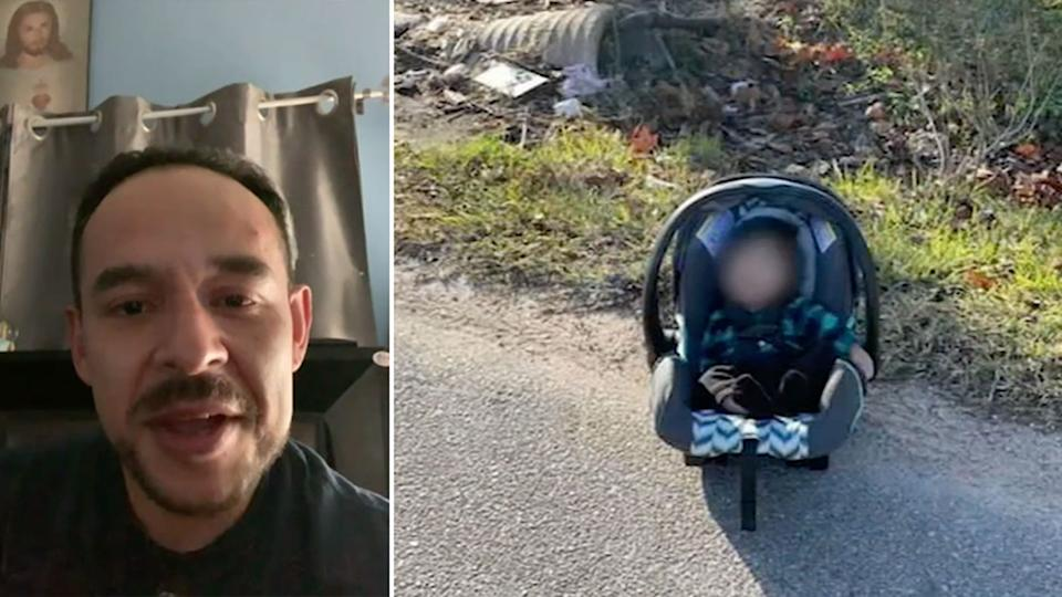Amazon driver Juan Carlos Flores seen left. Right is the baby in its carrier on the road