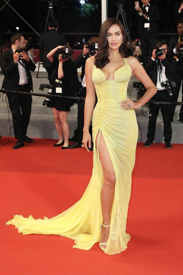 Model mom Irina Shayk appears onthe red carpet in Cannes, France. (Photo: Getty Images)