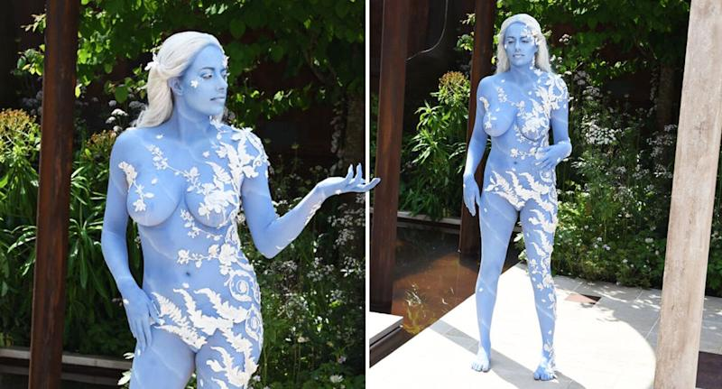 Model Alexandra Ford posed nude at the RHS Chelsea Flower Show. [Photo: Getty]