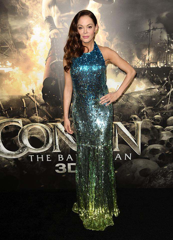 "<a href=""http://movies.yahoo.com/movie/contributor/1800023489"">Rose McGowan</a> at the Los Angeles premiere of <a href=""http://movies.yahoo.com/movie/1809953260/info"">Conan the Barbarian</a> on August 11, 2011."