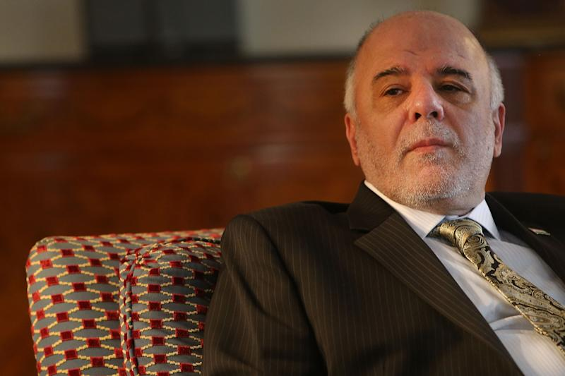 Iraqi Prime Minister Haider al-Abadi attends a meeting at the Waldorf Astoria hotel on September 25, 2014 in New York (AFP Photo/Spencer Platt)