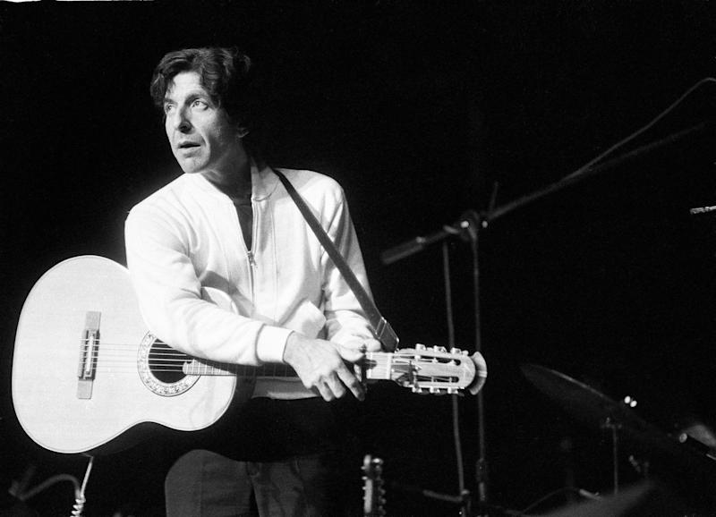 Canadian singer-songwriter Leonard Cohen on stage in the UK on May 27, 1976. He died on Nov. 10, 2016. (Michael Putland/Getty Images)