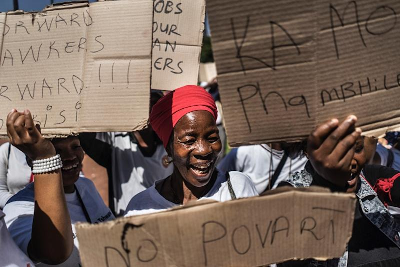 Street vendors from Pretoria demonstrated on March 9 against a wave of xenophobic attacks on migrants (AFP Photo/MARCO LONGARI)