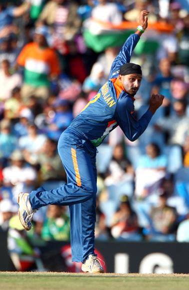 Harbhajan Singh of India  bowls during The ICC Champions Trophy Group A Match between India and Pakistan on September 26, 2009 at The Supersport Stadium in Centurion, South Africa.  (Photo by Julian Herbert/Getty Images) *** Local Caption *** Harbhajan Singh