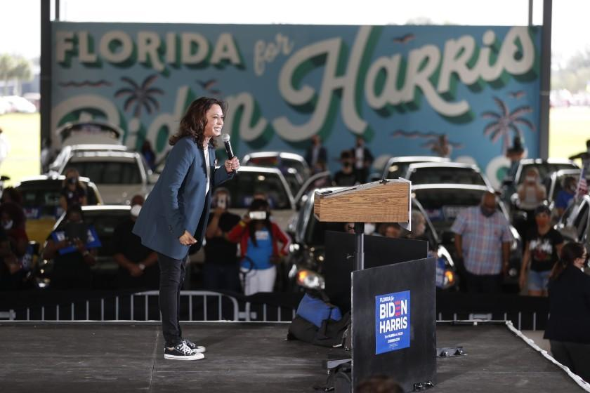 ORLANDO, FL - OCTOBER 19: Democratic U.S. Vice Presidential nominee Sen. Kamala Harris (D-CA) speaks during an early voting mobilization event at the Central Florida Fairgrounds on October 19, 2020 in Orlando, Florida. President Donald Trump won Florida in the 2016 presidential election. (Photo by Octavio Jones/Getty Images)