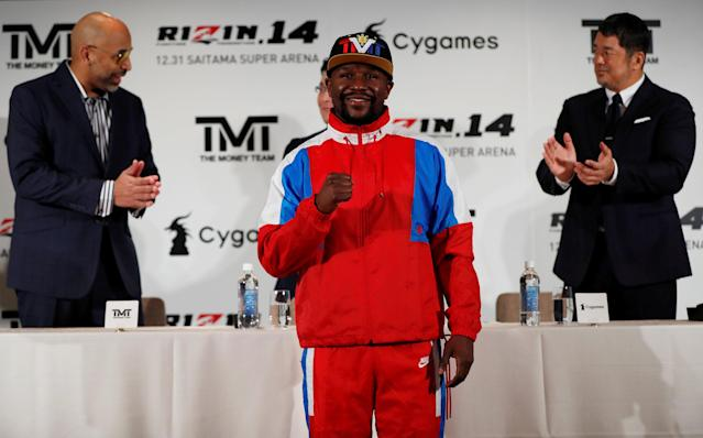 Undefeated boxer Floyd Mayweather Jr. attends a news conference on Nov. 5, 2018in Tokyo to announce he is joining Japanese mixed martial arts promotional company Rizin Fighting Federation. (Reuters)