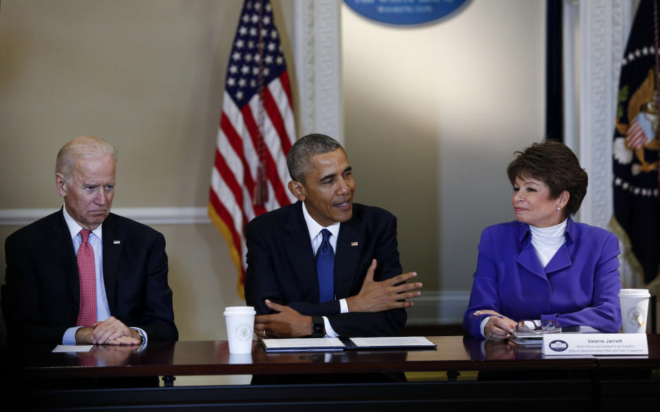 WASHINGTON, DC - FEBRUARY 19: President Barack Obama speaks during a meeting of the Democratic Governors Association while Vice President Joe Biden (3L) and  Senior Advisor to the President Valerie Jarrett (2R) listen at the Eisenhower Executive Office Building at the White House on February 19, 2016 in Washington, DC. (Photo by Aude Guerrucci - Pool/Getty Images)