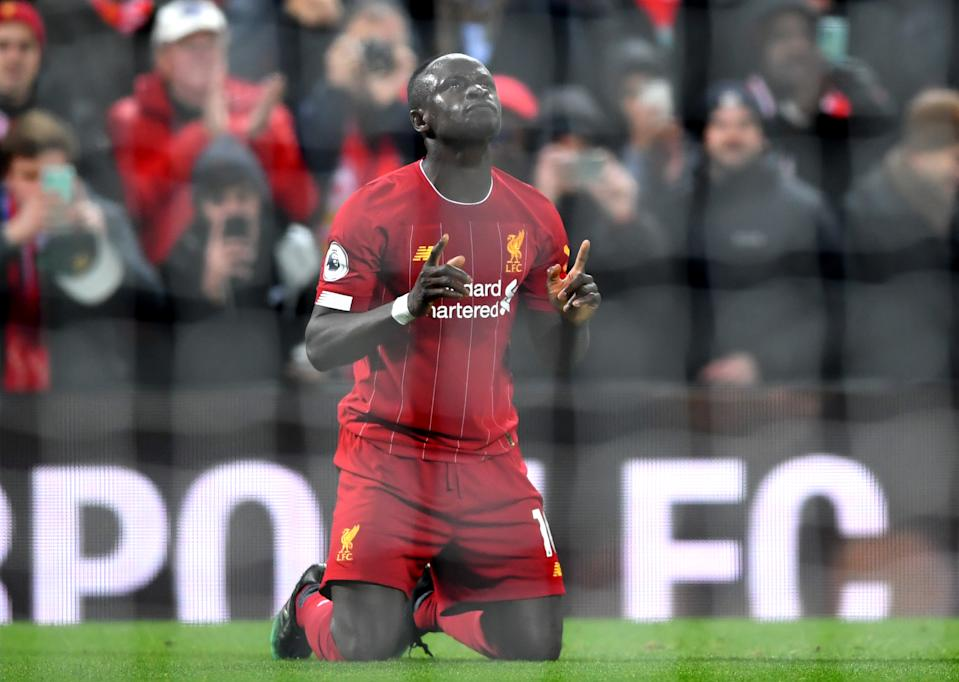 LIVERPOOL, ENGLAND - DECEMBER 04: Sadio Mane of Liverpool celebrates after scoring his team's fourth goal during the Premier League match between Liverpool FC and Everton FC at Anfield on December 04, 2019 in Liverpool, United Kingdom. (Photo by Laurence Griffiths/Getty Images)