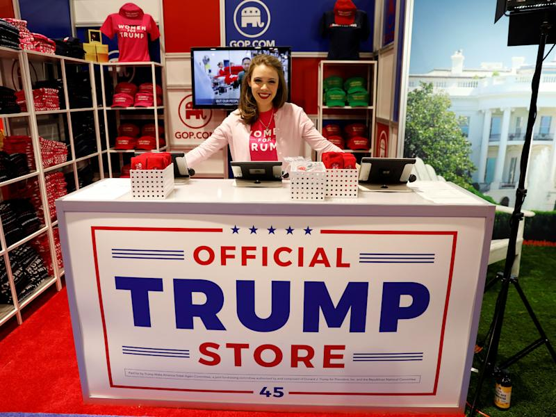 Merritt Corrigan tends the Official Trump Store at the Conservative Political Action Conference (CPAC) at National Harbor, Maryland: Reuters
