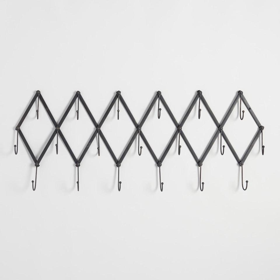 "<p>When hunting for storage solutions that fit your particular space, you can search and search for those with the right dimensions—or simply choose an adjustable option. This metal accordion coat rack expands or contracts to fit your available wall space. </p> <p><strong>To buy: </strong>$35, <a href=""http://www.anrdoezrs.net/links/7876406/type/dlg/sid/RS%2C7OrganizersAllSmall-SpaceDwellersShouldOwn%2Ckholdefehr1271%2CORG%2CIMA%2C684656%2C201911%2CI/https://www.worldmarket.com/product/metal+accordion+wall+storage.do?"" target=""_blank"">worldmarket.com</a>. </p>"