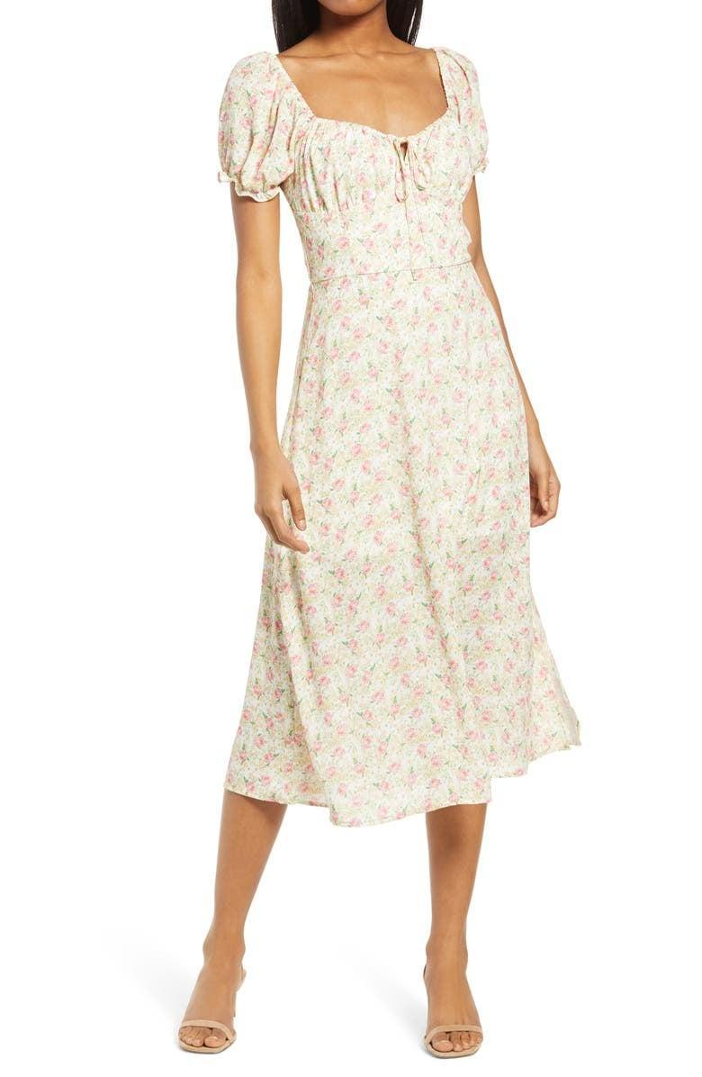 <p>This cottagecore <span>Row A Puff-Sleeve Midi Dress</span> ($45) is an amazing deal.</p>