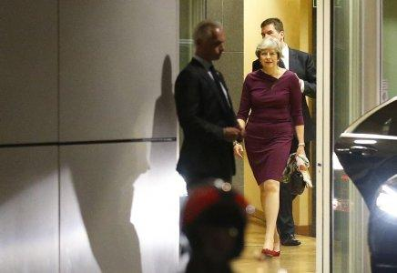 Britain's Prime Minister Theresa May leaves the European Commission headquarters after a meeting with EU Commission President Jean-Claude Juncker and EU's chief Brexit negotiator Michel Barnier in Brussels, Belgium October 16, 2017. REUTERS/Francois Lenoir