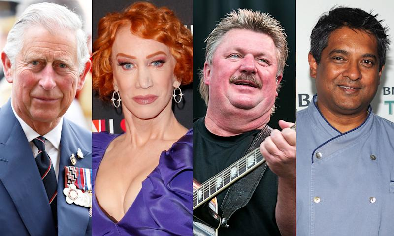 Prince Charles, Kathy Griffin, Joe Diffie and Floyd Cardoz are some of the recognizable names affected by the coronavirus. (Photo: Getty Images)