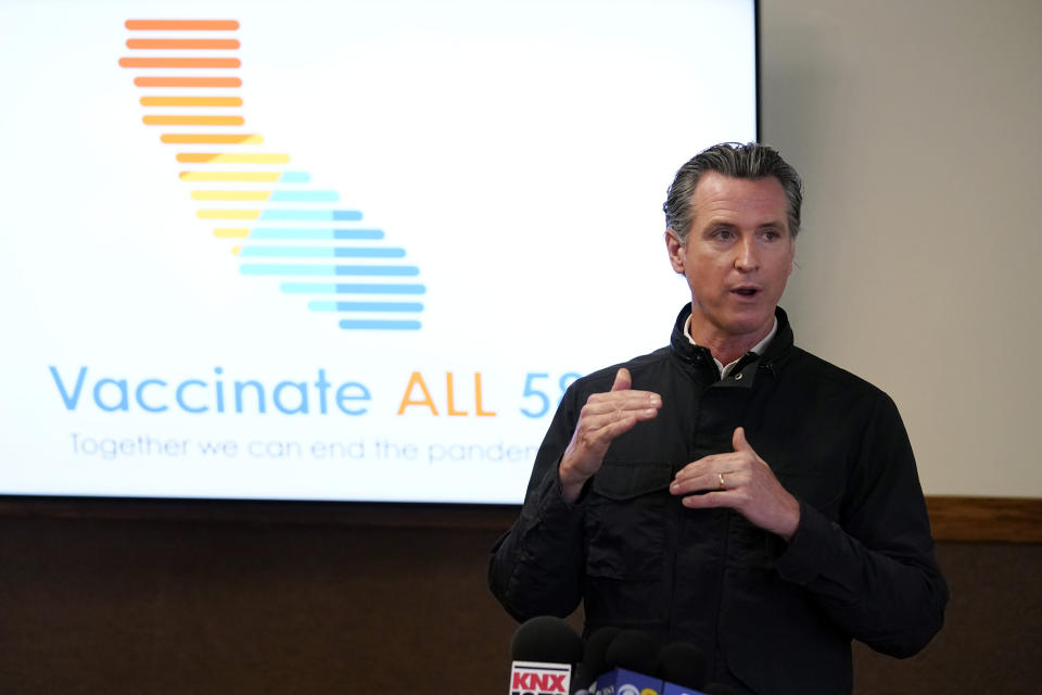 FILE - In this March 10, 2021 file photo, California Gov. Gavin Newsom addresses the media during a visit to a vaccination center in South Gate, Calif. (AP Photo/Marcio Jose Sanchez, File)