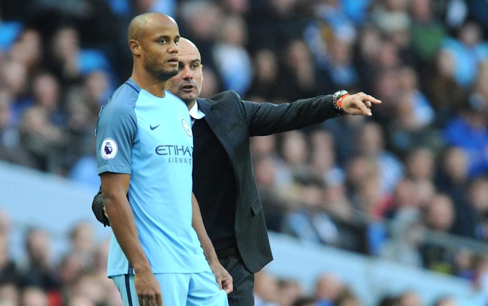 Guardiola -Manchester City manager Pep Guardiola brushes off Champions League exit, saying chairman supports his vision - Credit: AP