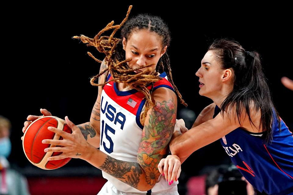 Brittney Griner drives to the basket against Serbia's Dragana Stankovic.