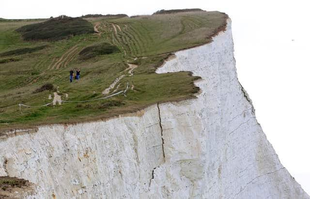 A large crack which appeared in 2017 at Seaford Head (Gareth Fuller/PA)