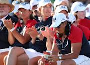 Team USA looks on during the Solheim Cup presentation to Team Europe at the Inverness Club in Ohio (AFP/Maddie Meyer)