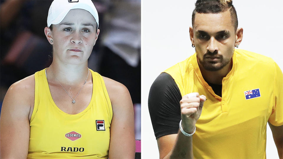 Ash Barty and Nick Kyrgios, pictured here in action for Australia.