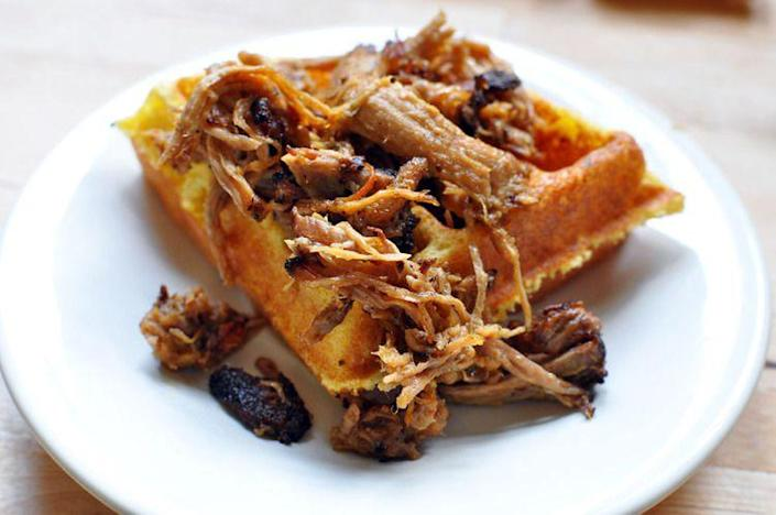 """<p>Make cornbread in a waffle iron and top with pulled pork or chili.</p><p>Get the recipe from <a rel=""""nofollow noopener"""" href=""""http://www.willitwaffle.com/blog/2010/08/02/recipe-waffled-cornbread"""" target=""""_blank"""" data-ylk=""""slk:Will it Waffle"""" class=""""link rapid-noclick-resp"""">Will it Waffle</a>.</p>"""