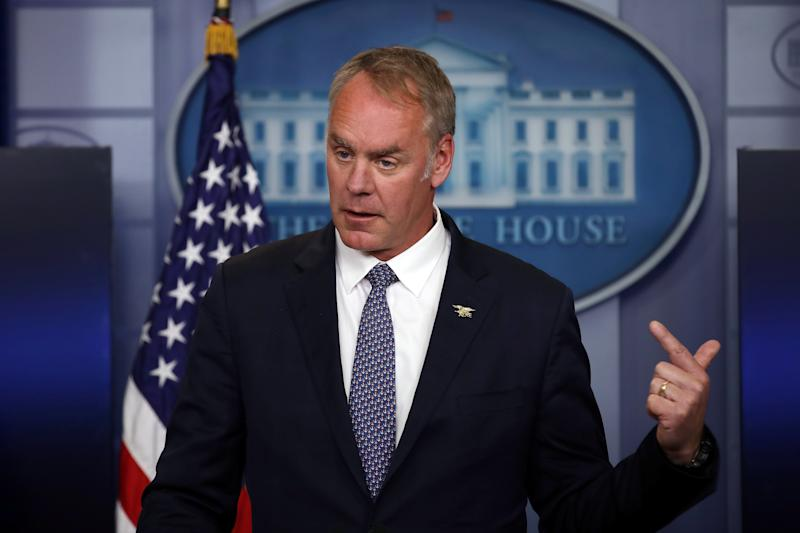Secretary of the Interior Ryan Zinke speaks during a daily press briefing at the White House in Washington, U.S., April 3, 2017. REUTERS/Carlos Barria