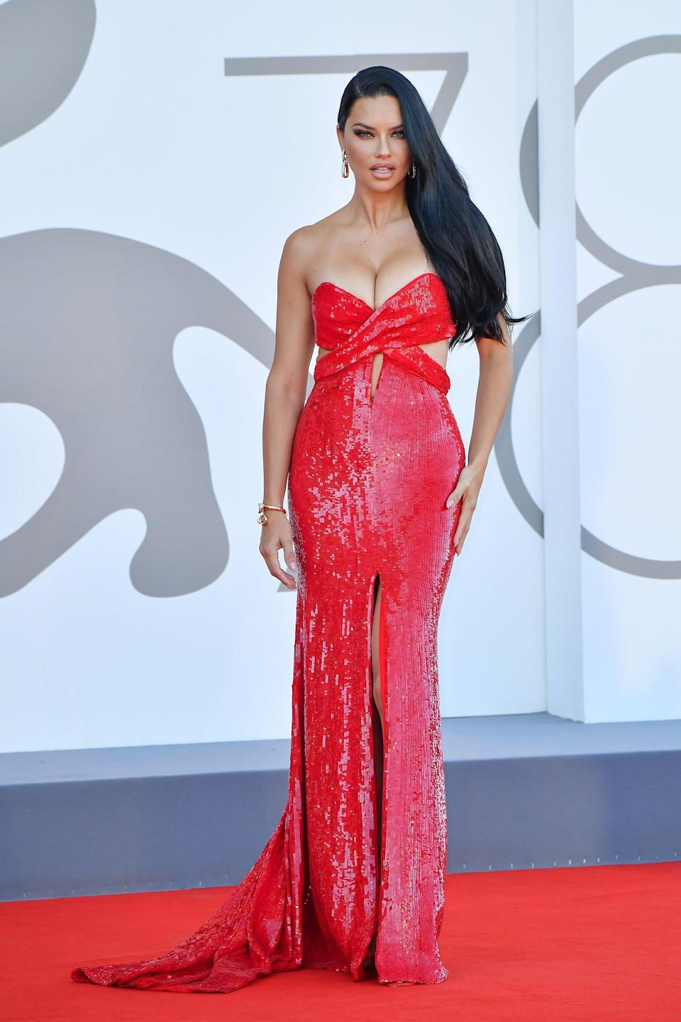 <p>Lima wore a red Etro gown. </p>