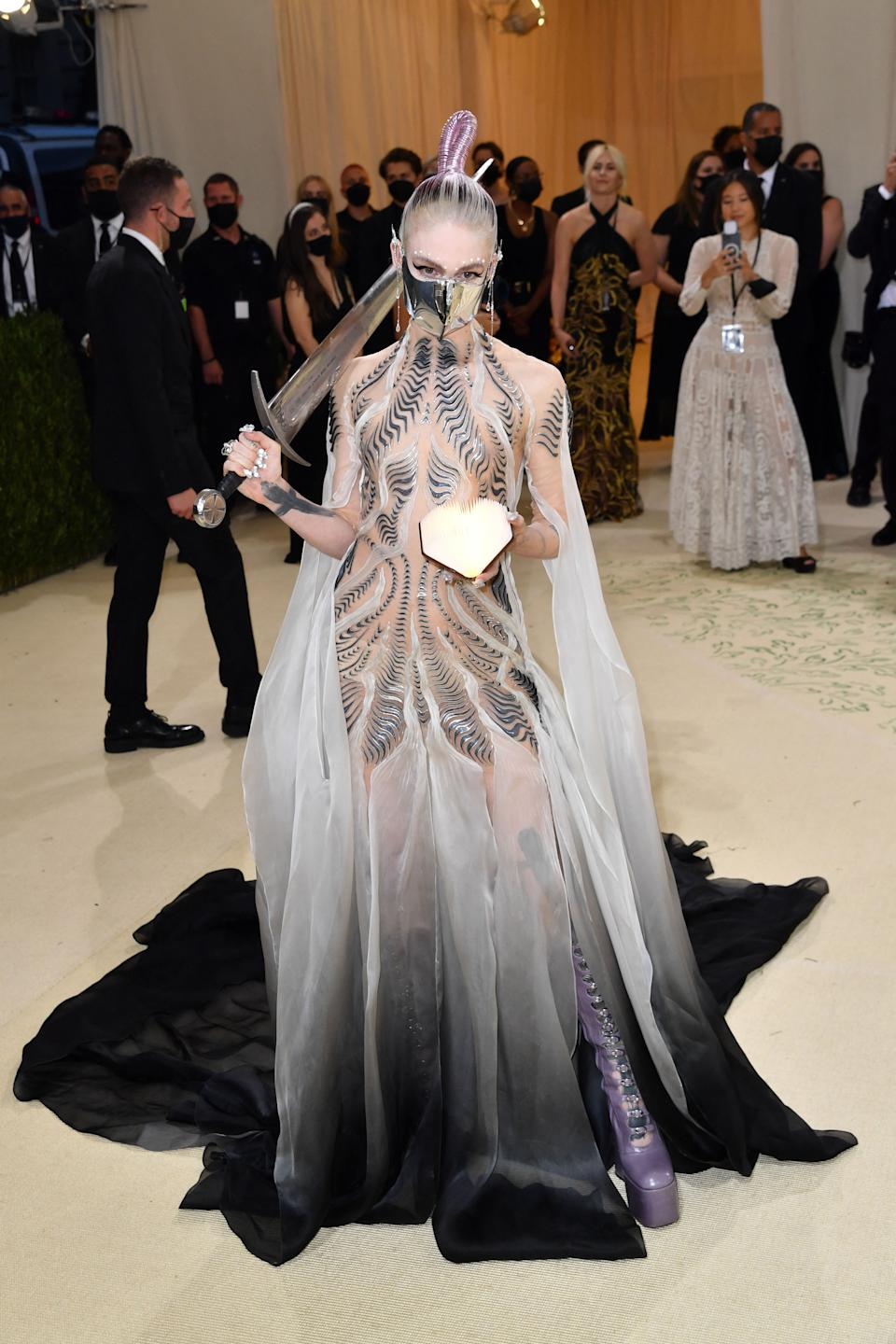 Grimes attends The 2021 Met Gala Celebrating In America: A Lexicon Of Fashion at Metropolitan Museum of Art on September 13, 2021 in New York City. (Getty Images)